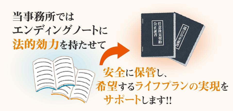 当事務所ではエンディングノートを法的効力を持たせて安全に保管し、希望するライフプランの実現をサポートします!!